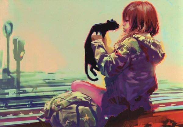 Tags: Anime, Benjamin (Zhang Bin), Traffic Light, Backpack, Black Cat (Animal)