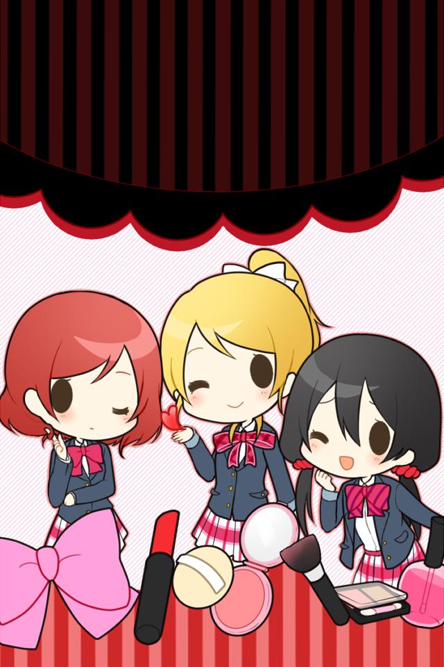 Tags: Anime, Pixiv Id 2409445, Love Live!, Nishikino Maki, Ayase Eri, Yazawa Niko, Lipstick Tube, Fanart From Pixiv, Pixiv, Mobile Wallpaper, Fanart, BiBi (Love Live!)