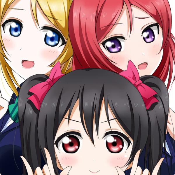 Tags: Anime, Pixiv Id 104555, Love Live!, Ayase Eri, Yazawa Niko, Nishikino Maki, I Love You Gesture, BiBi (Love Live!)