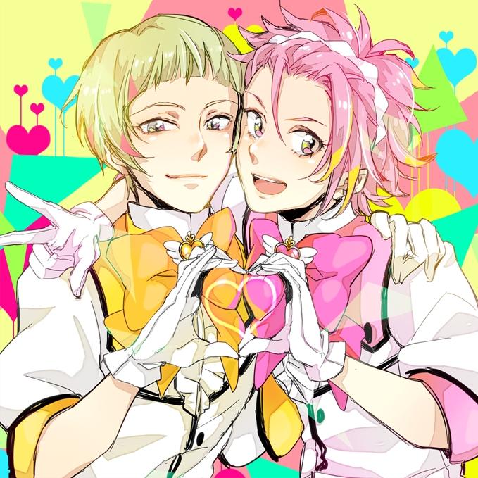 Tags: Anime, Pixiv Id 42814, Binan Koukou Chikyuu Bouei-bu Love!, Zaou Ryuu, Naruko Io, Heart Gesture Duo, Bright Colors, Magical Boy, Fanart, Fanart From Pixiv, Pixiv, Cute High Earth Defense Club Love!