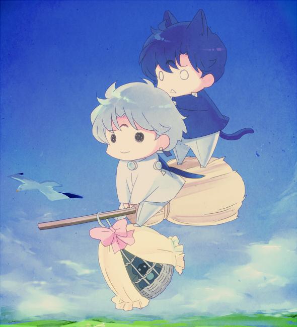 Tags: Anime, Saki Kunkatan, Bishoujo Senshi Sailor Moon, Death Phantom, Saphir (BSSM), Prince Diamond, Seagull, Majo no Takkyuubin (Parody), Fanart, Fanart From Pixiv, Pixiv, Black Moon Clan, Pretty Guardian Sailor Moon