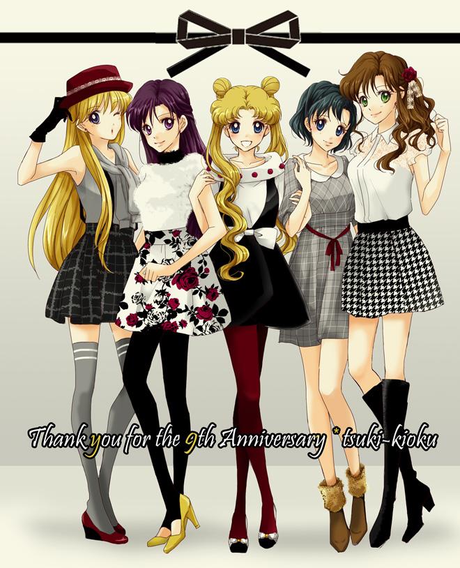 Tags: Anime, Hanarain, Bishoujo Senshi Sailor Moon, Tsukino Usagi, Kino Makoto, Aino Minako, Hino Rei, Mizuno Ami, Gray Dress, Gray Outfit, Text: Thank You, Yellow Footwear, Pixiv, Pretty Guardian Sailor Moon