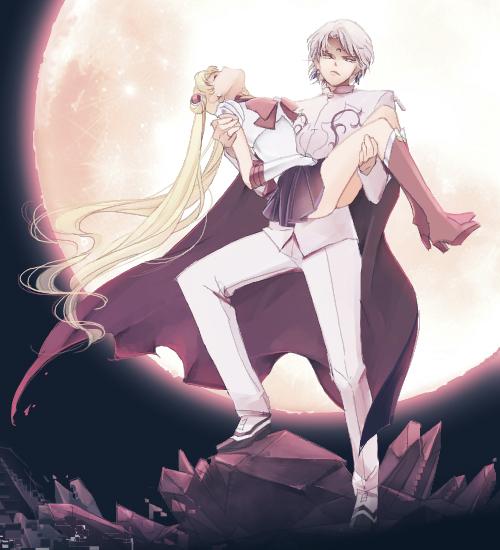Tags: Anime, Saki Kunkatan, Bishoujo Senshi Sailor Moon, Sailor Moon (Character), Prince Diamond, Tsukino Usagi, Crystal Tokyo, Pixiv, Fanart, Fanart From Pixiv, PNG Conversion, Pretty Guardian Sailor Moon