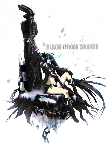 Tags: Anime, Steelleets, Black★Rock Shooter, Black★Rock Shooter (Character), Hand On Knee, Blue Flame