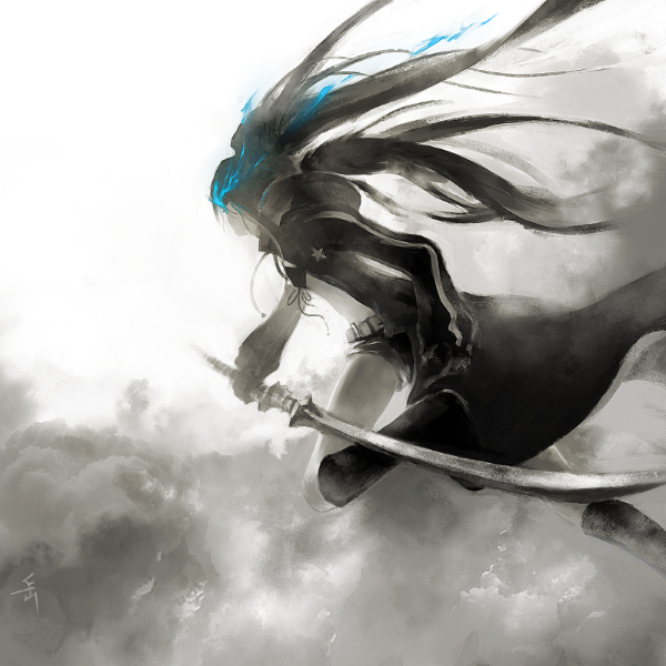 Tags: Anime, Archlich, Black★Rock Shooter, Black★Rock Shooter (Character), Fog, Open Coat