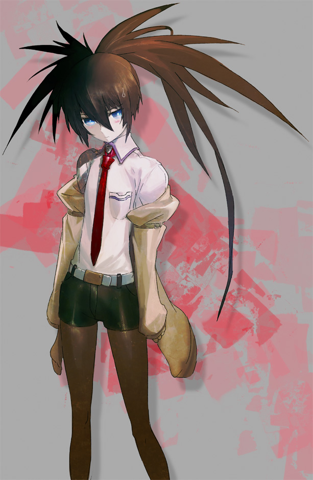 Tags: Anime, Huke, Nitro+, Black★Rock Shooter, Black★Rock Shooter (Character), Uneven Tails, Creator Connection, Makise Kurisu (Cosplay), Official Art, Mobile Wallpaper