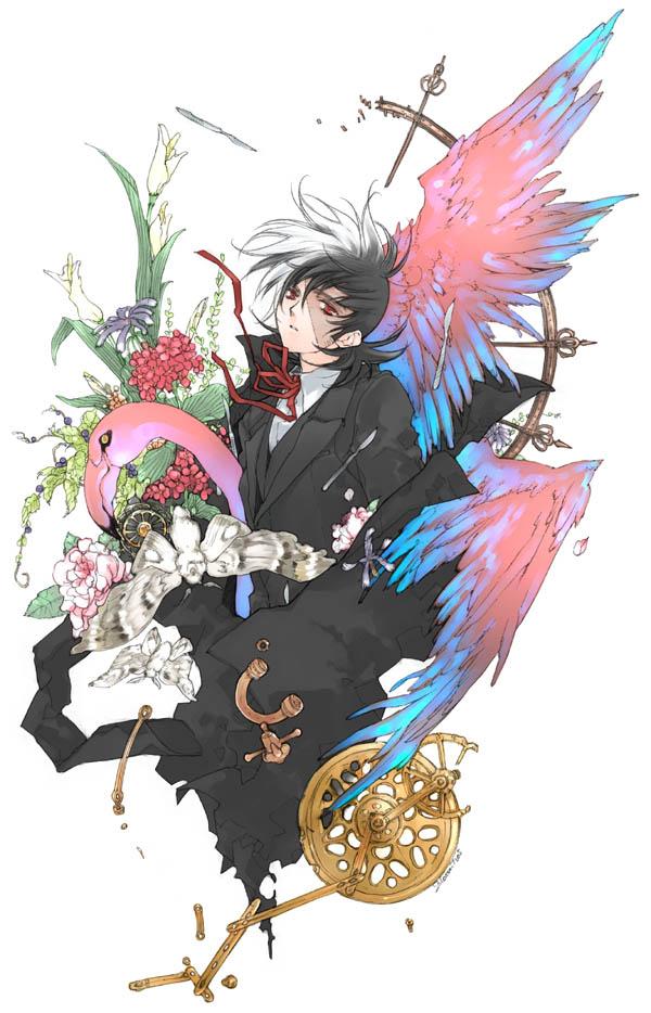 Tags: Anime, Toujou Sakana, Black Jack, Black Jack (Character), Operation Knives, Flamingo, Moth, Mobile Wallpaper, Pixiv