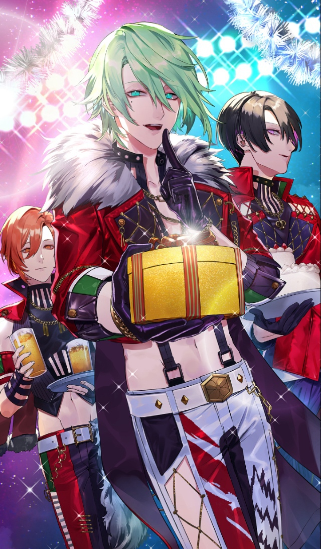 Tags: Anime, Blackstar -Theater Starless-, Rindou (Black Star), Mokuren (Black Star), Menou (Black Star), Official Card Illustration, Official Art
