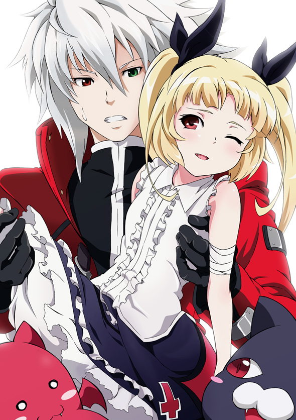 Tags: Anime, Raichi (Pixiv), BlazBlue, Ragna the Bloodedge, Nago, Gii, Rachel Alucard, Mobile Wallpaper