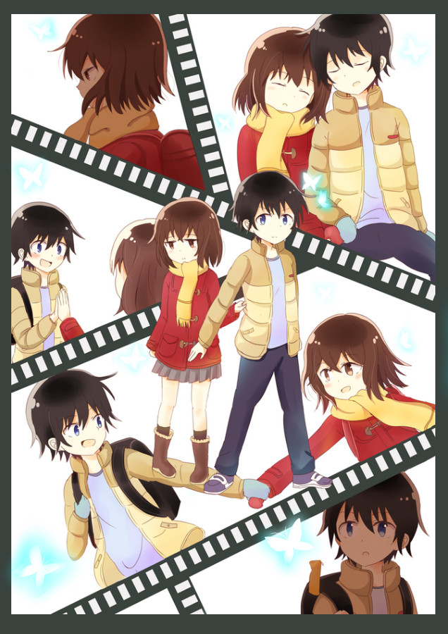 Tags: Anime, Pixiv Id 3299776, Boku dake ga Inai Machi, Hinazuki Kayo, Fujinuma Satoru, Filmstrip, Red Coat, Mobile Wallpaper, Boku dake ga Inai Machi Iracon, PNG Conversion, Erased