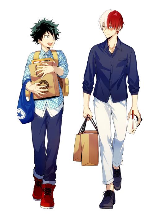 Tags: Anime, hegi, Boku no Hero Academia, Todoroki Shouto, Midoriya Izuku, Holding Bag, Shopping Bag, Fanart From Pixiv, Pixiv, Fanart, TodoDeku, My Hero Academia