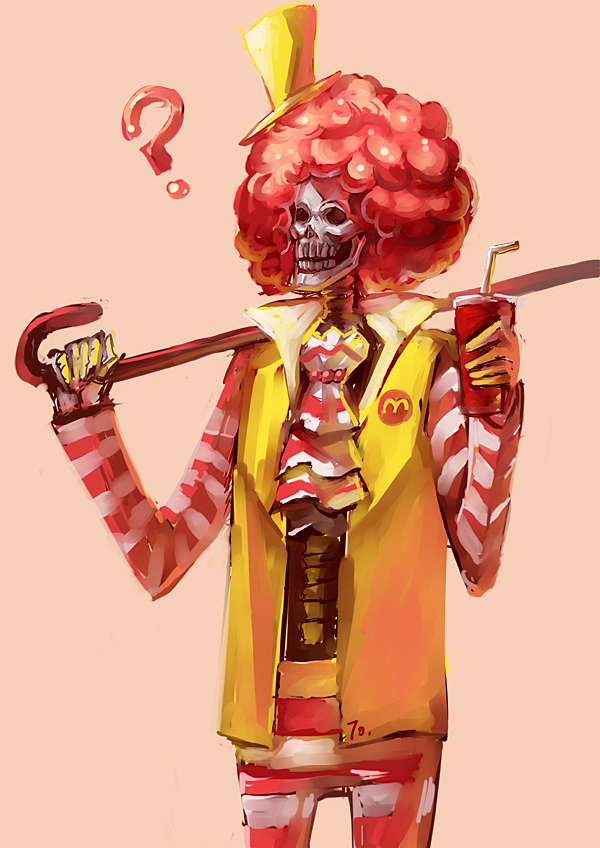 Tags: Anime, Pixiv Id 302655, ONE PIECE, Brook, Yellow Headwear, McDonald's Meal, Yellow Handwear, Ronald McDonald (Cosplay), Yellow Hat, Yellow Gloves, Mobile Wallpaper, Straw Hat Pirates