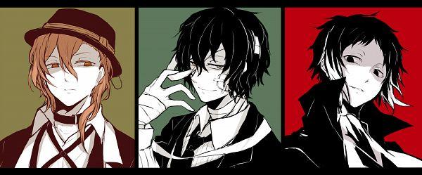 Tags: Anime, Pixiv Id 2031732, Bungou Stray Dogs, Akutagawa Ryuunosuke, Dazai Osamu, Nakahara Chuuya, Bandaged Neck