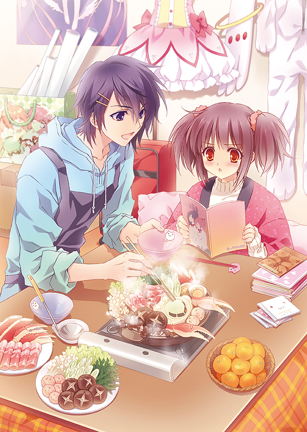 Tags: Anime, CARNELIAN, Mahou Shoujo Madoka☆Magica, Ultimate Madoka, Kaname Madoka (Cosplay), Sukiyaki, Hanten (Japanese Coat), Kotatsu, Kyubee (Cosplay), Original, Mobile Wallpaper, Character Request