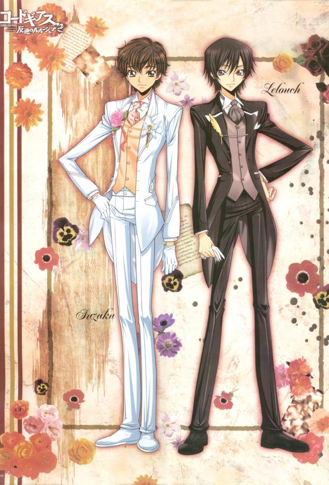 Tags: Anime, Kimura Takahiro, Sunrise (Studio), CODE GEASS: Hangyaku no Lelouch, Lelouch Lamperouge, Kururugi Suzaku, Pansy, Anemone (Flower), Mobile Wallpaper, Official Art, Code Geass: Lelouch Of The Rebellion