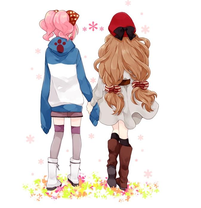 Tags: Anime, CODE GEASS: Hangyaku no Lelouch, Nunnally Lamperouge, Anya Alstreim, Glowing Hair, Walking Together, Purple Legwear, Bright Colors, Artist Request, Fanart, Code Geass: Lelouch Of The Rebellion