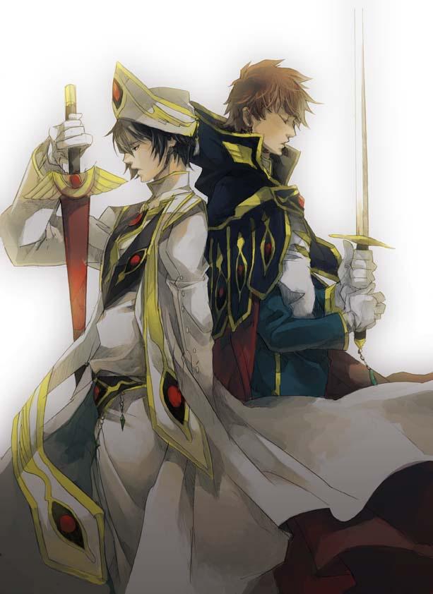 Tags: Anime, Pixiv Id 95008, CODE GEASS: Hangyaku no Lelouch, Lelouch Lamperouge, Kururugi Suzaku, Fanart, Mobile Wallpaper, Code Geass: Lelouch Of The Rebellion