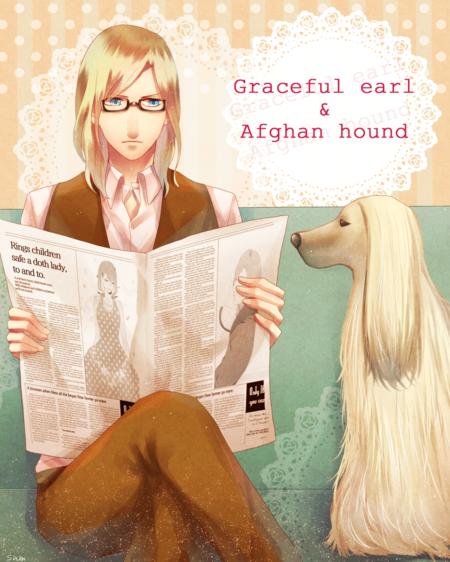Tags: Anime, K.sum, Uta no☆prince-sama♪, Alexander (Utapri), Camus (Utapri), Doily, Newspaper, Afghan Hound, Pixiv, PNG Conversion, Fanart