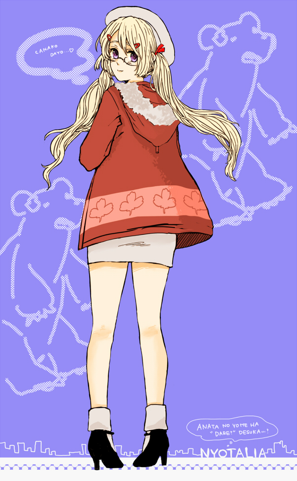 Tags: Anime, Ganega, Axis Powers: Hetalia, Kumajirou (Female), Kumajirou, Canada (Female), Polar Bear, Mobile Wallpaper, Pixiv, Nyotalia