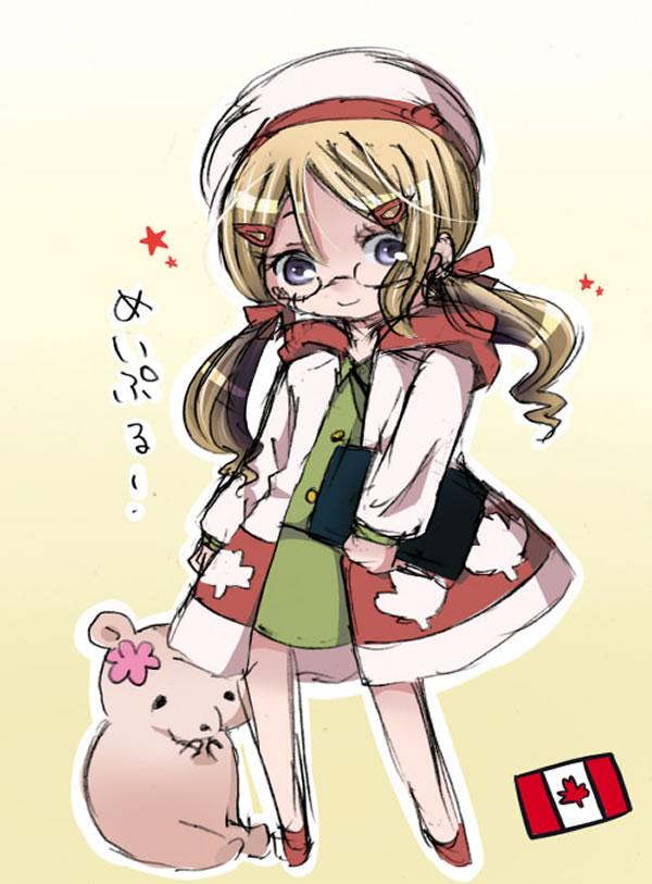 Tags: Anime, Pixiv Id 261003, Axis Powers: Hetalia, Kumajirou (Female), Canada (Female), Kumajirou, Pixiv, Nyotalia