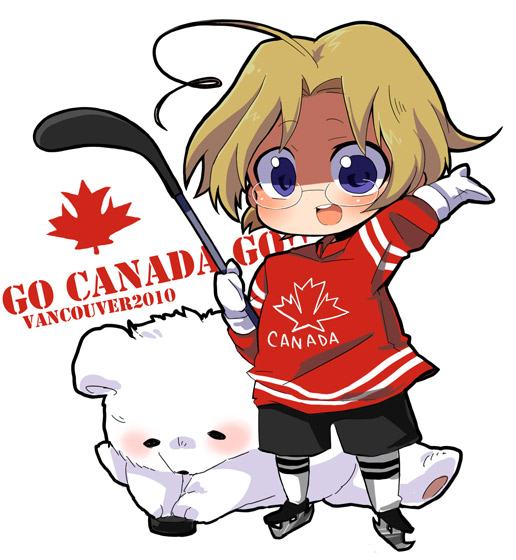 Tags: Anime, Delico Gekiamana, Axis Powers: Hetalia, Canada, Kumajirou, Ice Skates, Hockey, Hockey Stick, Olympics