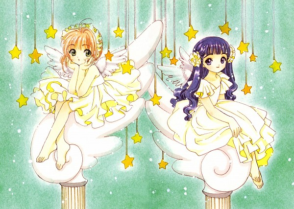 Tags: Anime, CLAMP, Cardcaptor Sakura, Cardcaptor Sakura Illustrations Collection 2, Daidouji Tomoyo, Kinomoto Sakura, Hanging Star