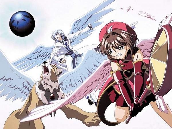 Tags: Anime, Cardcaptor Sakura, Kinomoto Sakura, Kero-chan, Yue (Cardcaptor Sakura), Feather Wings, 800x600 Wallpaper