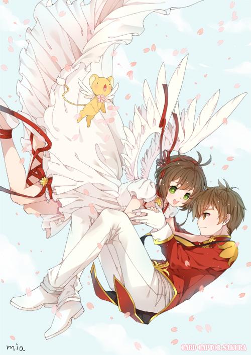 Tags: Anime, Mia0309, Cardcaptor Sakura, Kinomoto Sakura, Li Syaoran, Kero-chan, Pixiv, Mobile Wallpaper, Requested Upload, Fanart