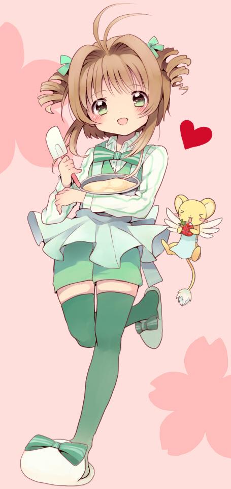 Tags: Anime, Gum (Vivid Garden), Cardcaptor Sakura, Kero-chan, Kinomoto Sakura, Green Footwear, Green Shorts, Green Legwear, Spatula, Fanart, Pixiv, Fanart From Pixiv