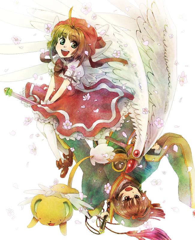 Tags: Anime, Pixiv Id 2252677, Cardcaptor Sakura, Kinomoto Sakura, Li Syaoran, Kero-chan, Sealing Wand (Dormant Form), Pixiv, Fanart