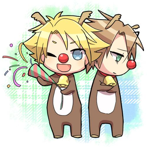 Tags: Anime, Tani (Pixiv 446857), Cardfight!! Vanguard, Miwa Taishi, Kai Toshiki, Reindeer Costume, Fanart, Pixiv