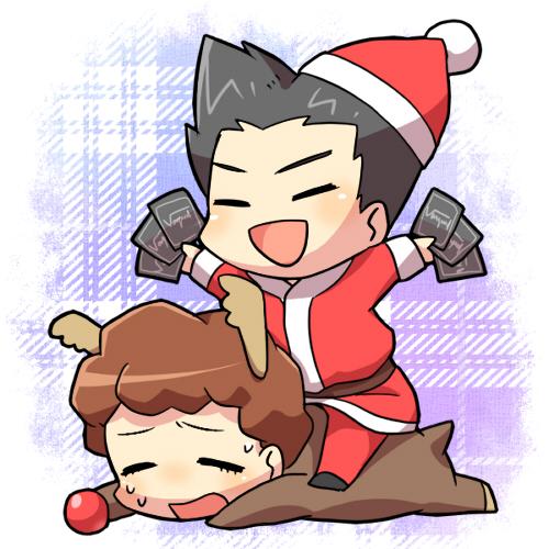 Tags: Anime, Tani (Pixiv 446857), Cardfight!! Vanguard, Morikawa Katsumi, Izaki Yuuta, Reindeer Costume, Fanart, Pixiv