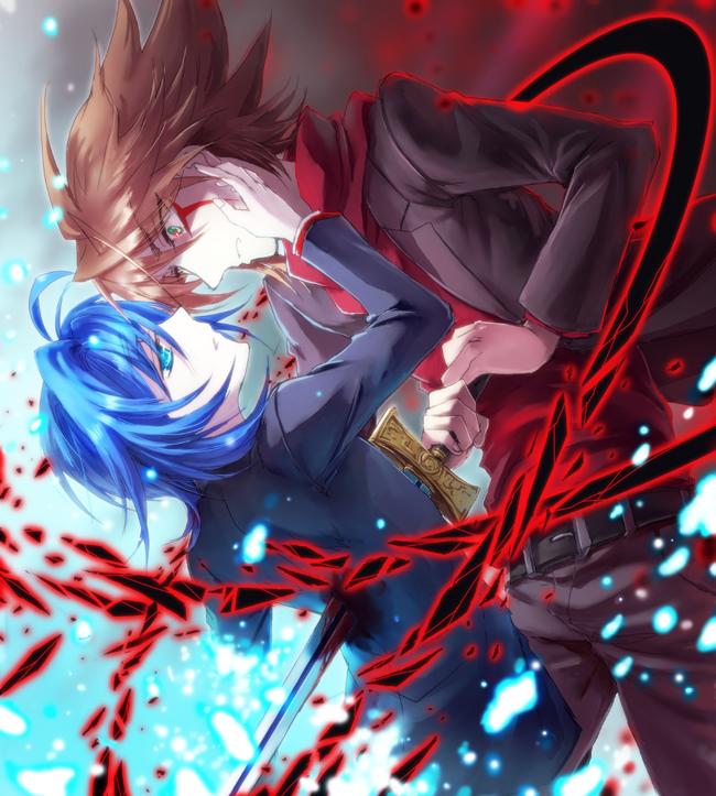 Tags: Anime, Udukisetu, Link Joker Hen, Cardfight!! Vanguard, Kai Toshiki, Sendou Aichi, School Uniform (Miyaji Academy), Pixiv, Fanart From Pixiv, Fanart,