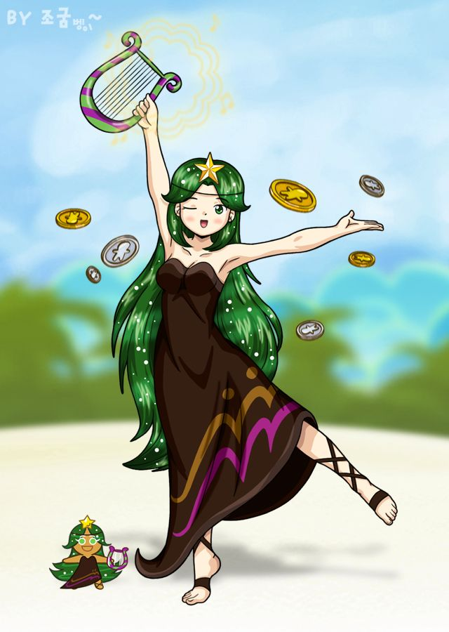 Tags: Anime, Jo (Zksqkfk2005), Cookie Run, Carol Cookie, Lyre, Coin, Brown Dress, Fanart