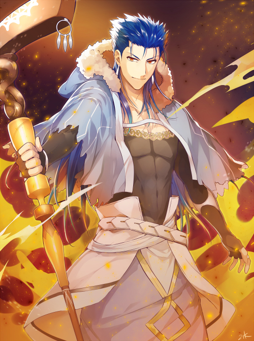 Tags: Anime, Nitaka, Fate/Grand Order, Caster (Cú Chulainn), Lancer (Fate/stay night), PNG Conversion, Mobile Wallpaper, Pixiv, Fanart From Pixiv, Fanart