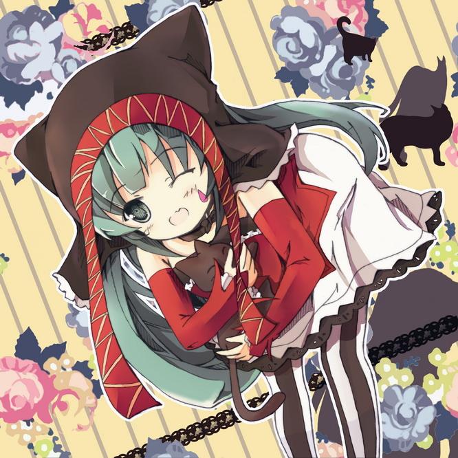 Tags: Anime, Bondson, Project DIVA F, VOCALOID, Hatsune Miku, Raindrop (Symbol), Cat Hat, Catfood (VOCALOID), Project DIVA Pierreta, Pixiv