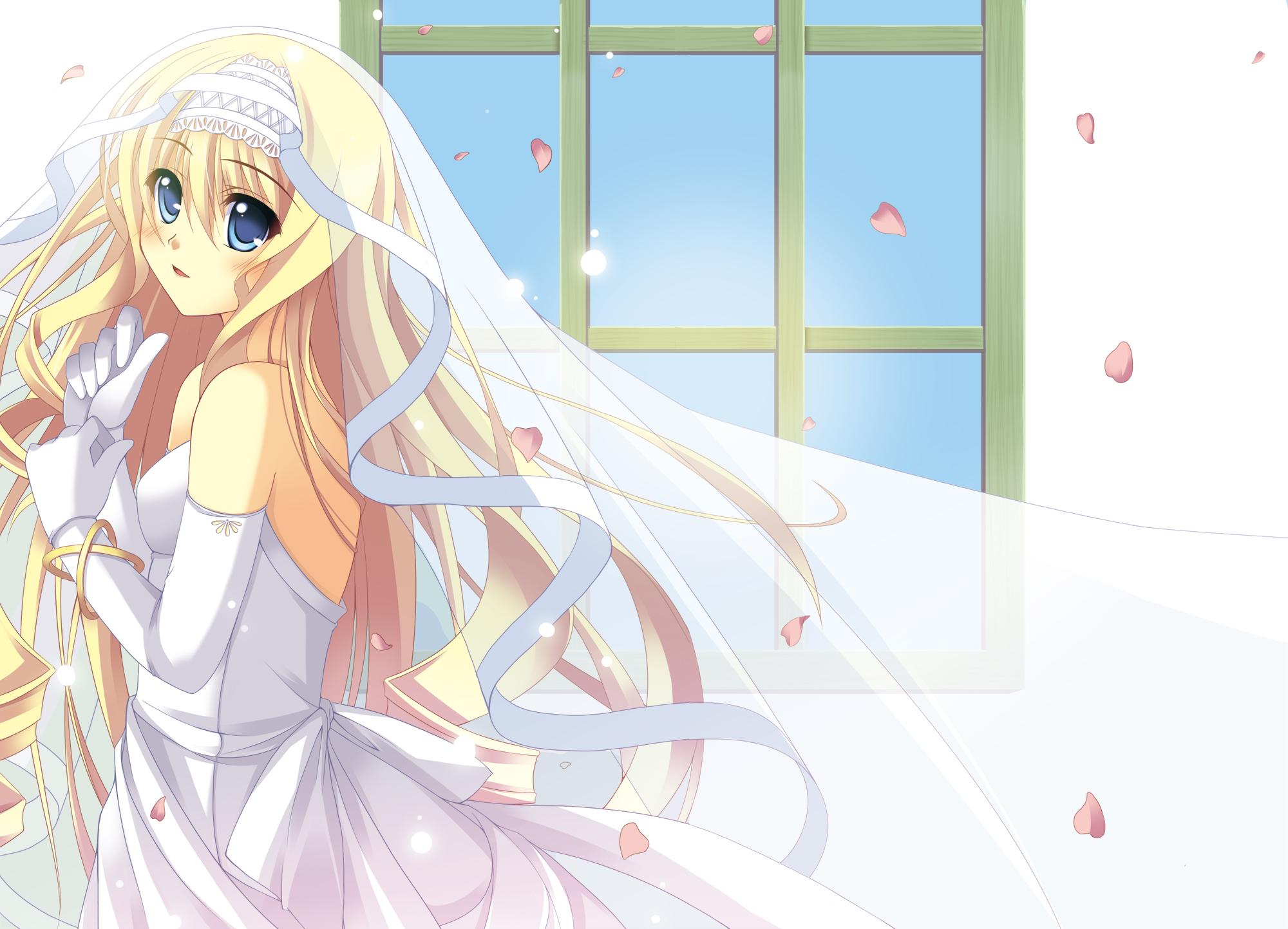 Картинки аниме девушек в свадебном платье