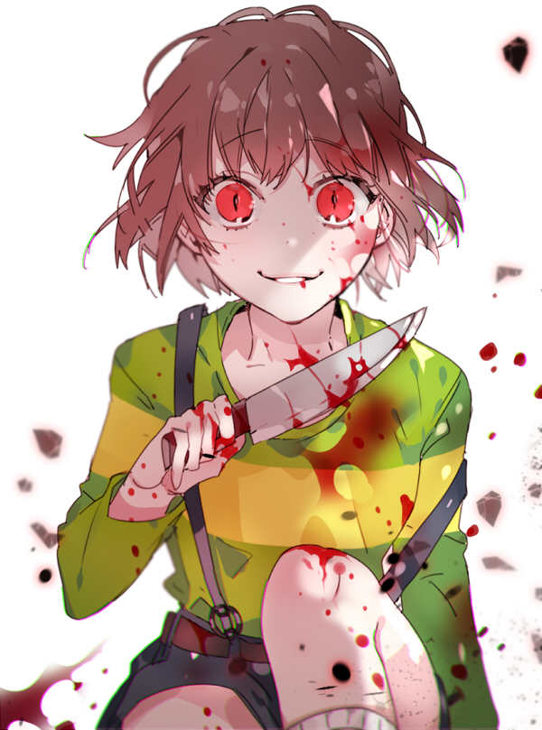 Tags: Anime, Piyo (ppotatto), Undertale, Chara (Undertale), Creepy Smile, Gray Shorts, Blood On Weapons, Fragments, Cracks, Pixiv, Fanart, Fanart From Pixiv, Mobile Wallpaper