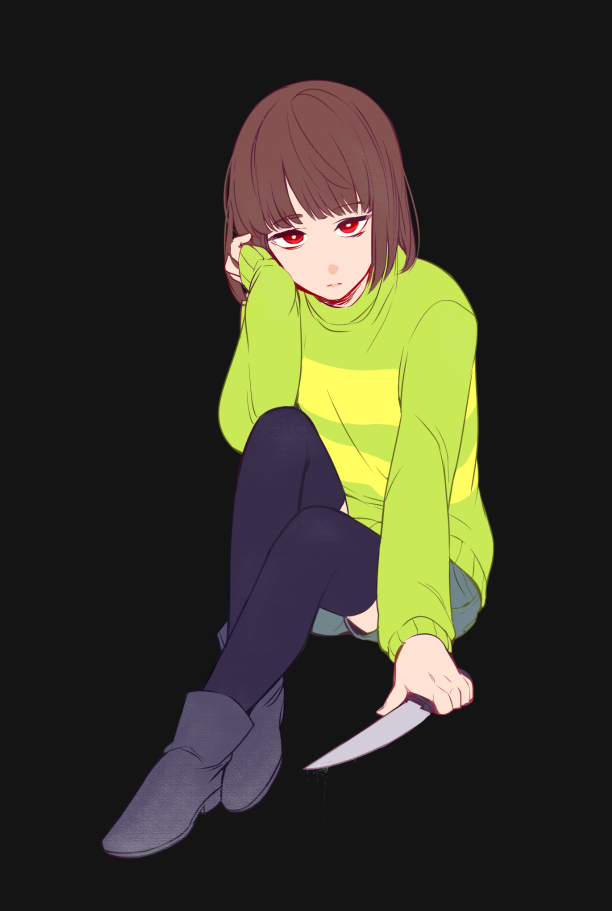 Tags: Anime, lenmue0, Undertale, Chara (Undertale), Striped Sweater, Striped Outerwear, Twitter, PNG Conversion, Fanart, Mobile Wallpaper