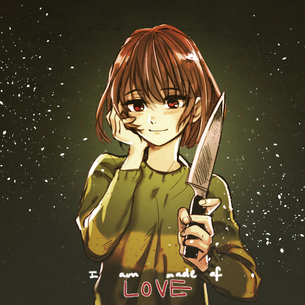 Tags: Anime, ricefather, Undertale, Chara (Undertale), Striped Outerwear, Striped Sweater, Fanart From Pixiv, PNG Conversion, Pixiv, Fanart