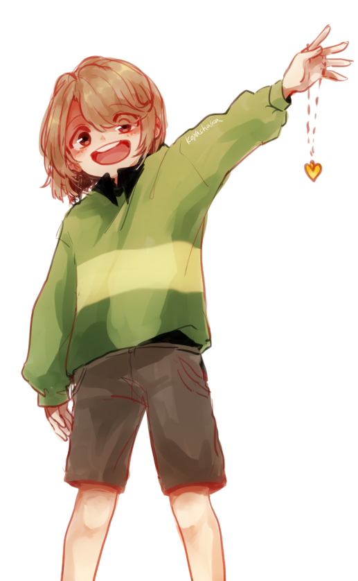 Tags: Anime, Pixiv Id 3963140, Undertale, Chara (Undertale), Heart Necklace, Striped Sweater, Striped Outerwear, Pixiv, Mobile Wallpaper, Fanart, Fanart From Pixiv, PNG Conversion