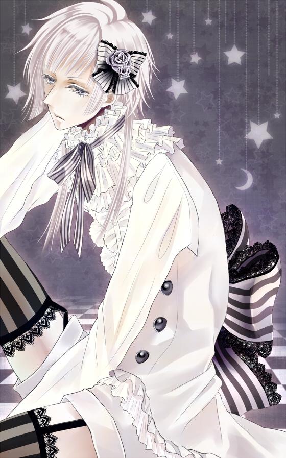 Tags: Anime, Kuroshitsuji, Charles Grey, Vertical-striped Legwear, Hanging Star, Kodona, White Shorts, Lace Trim, Mobile Wallpaper, Artist Request