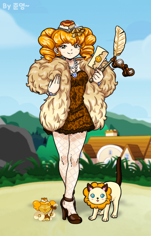 Tags: Anime, Jo (Zksqkfk2005), Cookie Run, Fluffy Cheese Cat, Cheesecake Cookie, Brown Dress, Fanart