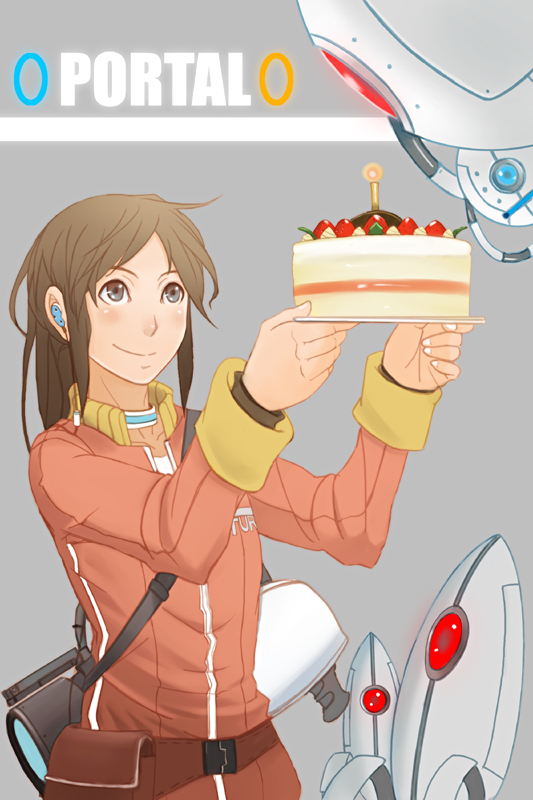 Tags: Anime, Yana Yana, Portal (Game), Turret, Chell, Portal Cake, Mobile Wallpaper