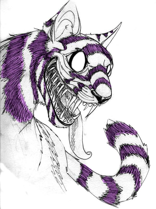 Creepy Cute Cat Drawing