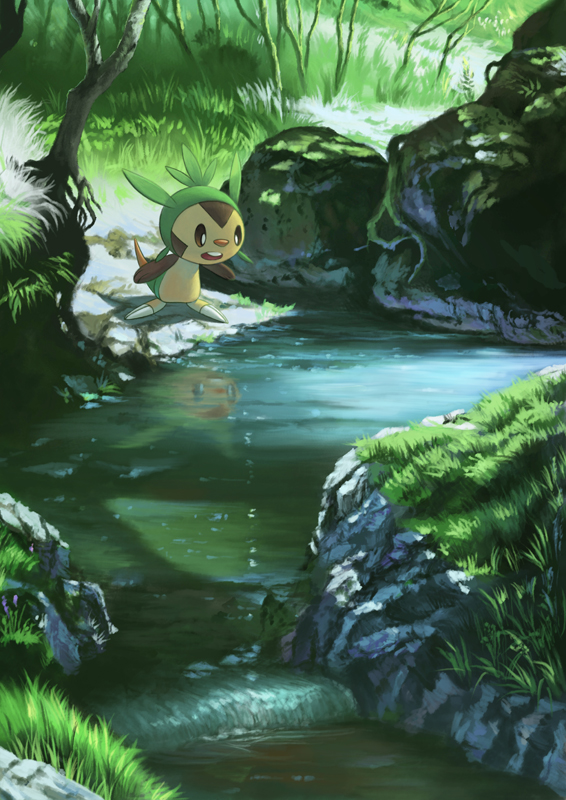 Tags: Anime, Pixiv Id 1962340, Pokémon, Chespin, Water Reflection, Mobile Wallpaper