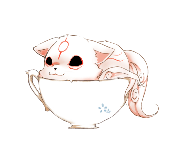 Tags: Anime, Tea, Goddess, Cup, Wolf, Okami, Capcom