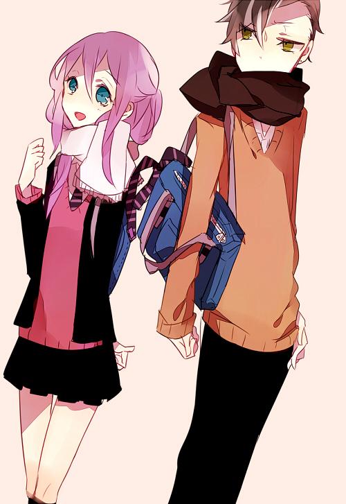 Tags: Anime, Chidori (@Rom), Inazuma Eleven, Kudou Fuyuka, Fudou Akio, Mobile Wallpaper, Pixiv