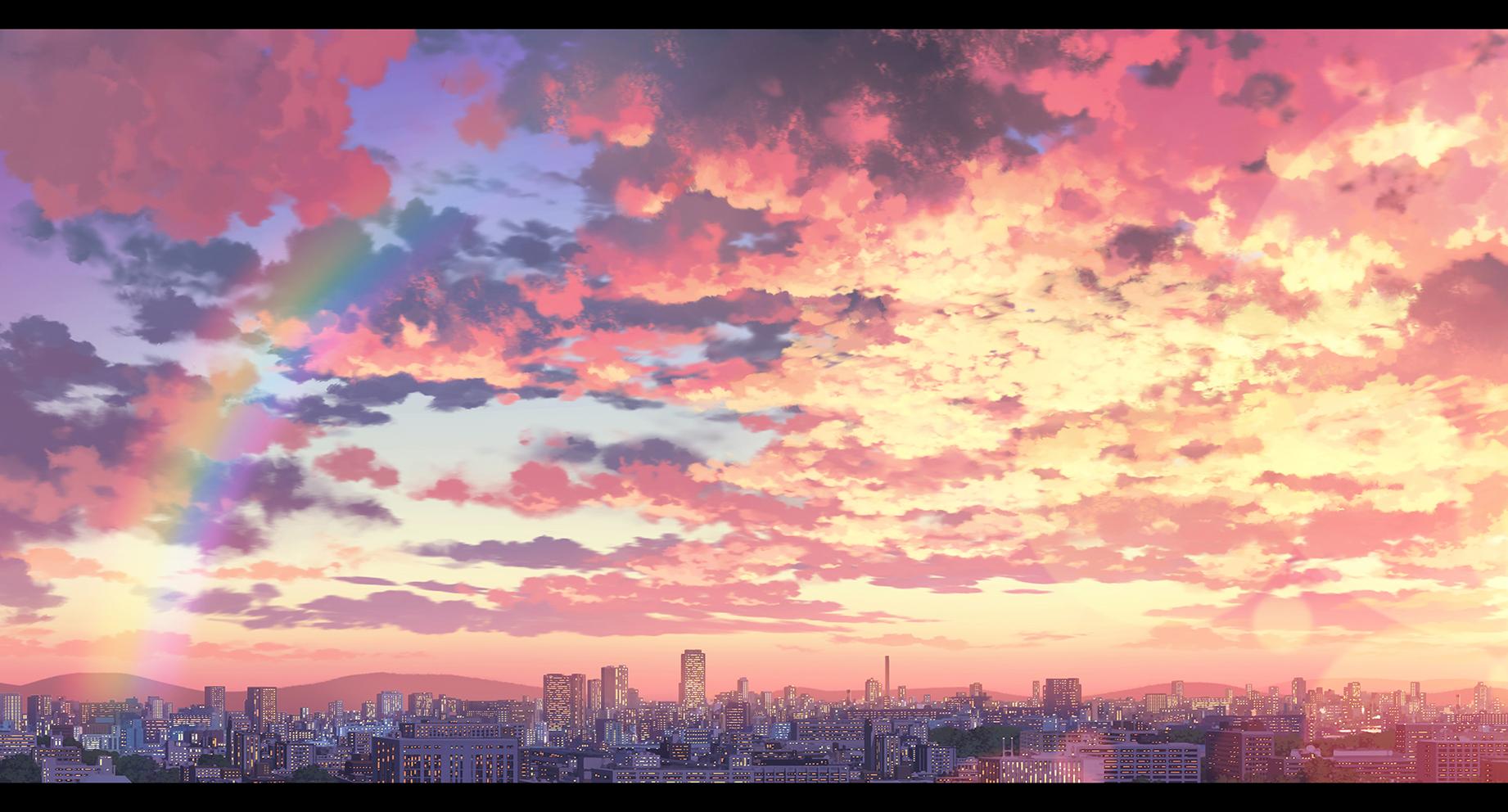Картинки закат аниме фон