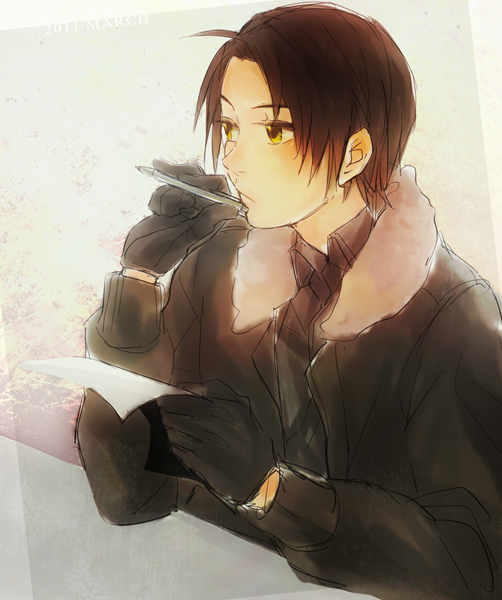Tags: Anime, Pixiv Id 396762, Axis Powers: Hetalia, China, Thinking, Bomber Jacket, Writing, Pixiv, Fanart, Fanart From Pixiv, Allied Forces, Asian Countries